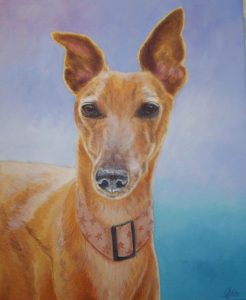 Bailey dog in acrylic