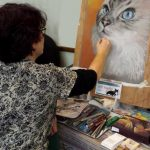 Josie doing demo portrait of cat