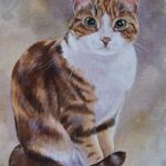 tabby in acrylic as watercolour